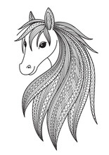 Horse Doodle Coloring Book Page. Antistress For Adult. Zentangle Style. Chinese Symbol Of The Year The Horse In The Eastern Horoscope.