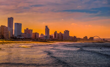Durban Golden Mile Beach With White Sand And Skyline South Africa