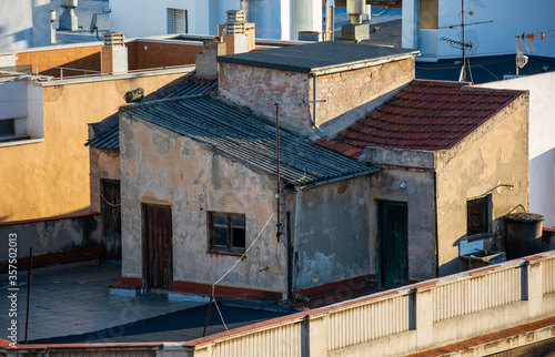 Old roof of the 20th century in Puertollano, Ciudad Real, Spain