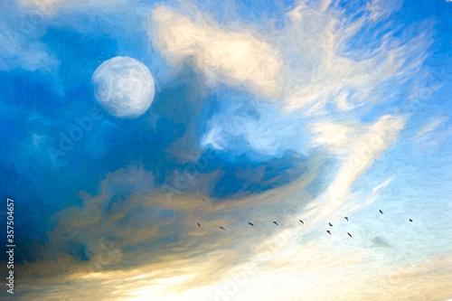 Leinwand Poster Daytime Sky Moon Birds