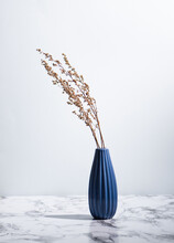 Minimalist Photo Of Deep Blue Vase With Dried Plants On Marble Surface On Light Background