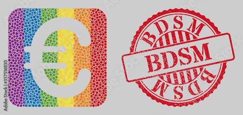 Obraz na plátně Grunge Bdsm stamp seal and mosaic euro symbol subtracted for LGBT