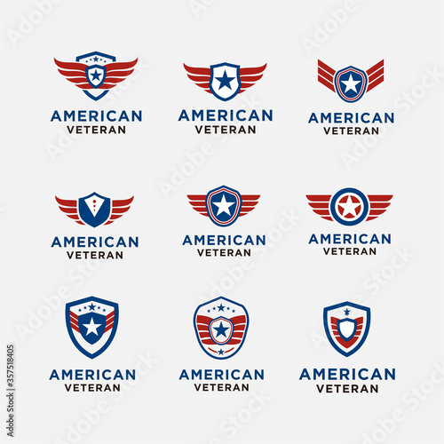 Fényképezés simple emblem american veteran shield patriotic national logo design vector