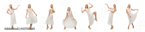 Fotomural Woman in dress in fashion dress isolated on white