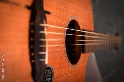 Closeup shot of a guitar on a wooden surface