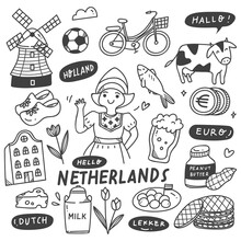 Hand Drawn Holland Doodle Set, Food And Drink, Traditional Clothes, Building