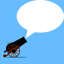 Cannon And Speech Bubble. Advertising Business Promotion. Marketing Concept