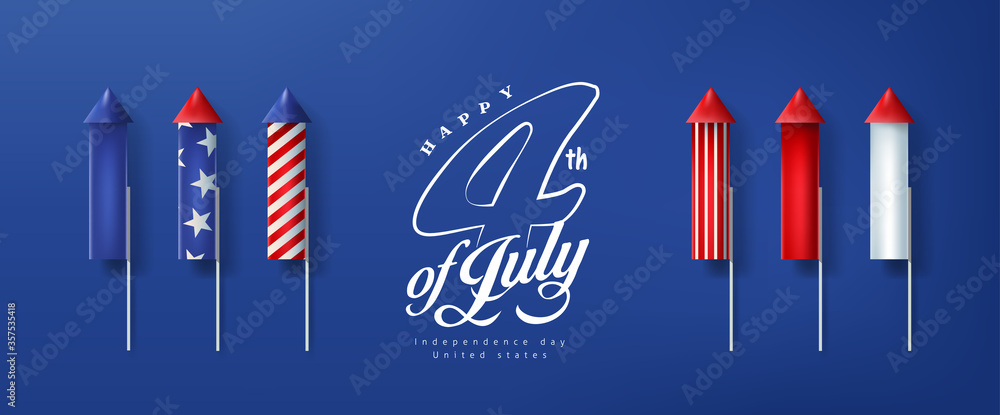 Fototapeta Independence day USA banner template rockets for fireworks.4th of July celebration poster template.fourth of july vector illustration .