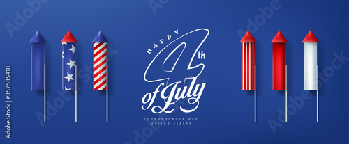 Independence day USA banner template rockets for fireworks.4th of July celebration poster template.fourth of july vector illustration . - 357535418