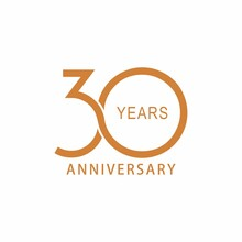 Vector 30 Year Anniversary, Birthday Logo Label. Year. Vector Illustration. Isolated Against A White Background.