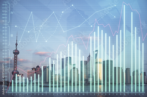 Forex graph on city view with skyscrapers background double exposure Canvas Print