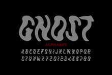 Ghost Style Font, Halloween Alphabet, Letters And Numbers