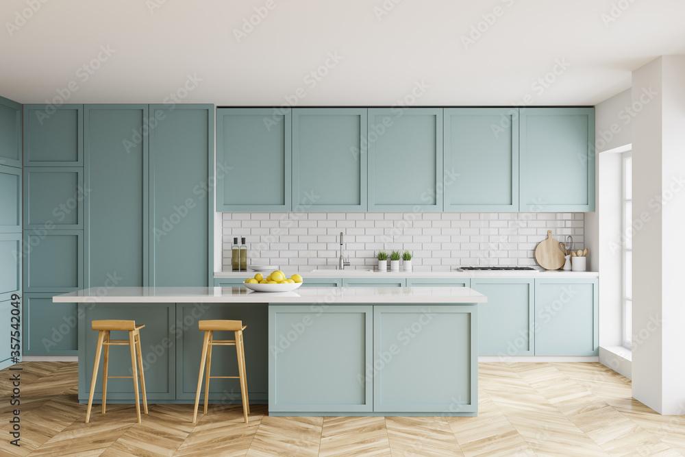 Fototapeta White and blue kitchen interior with bar