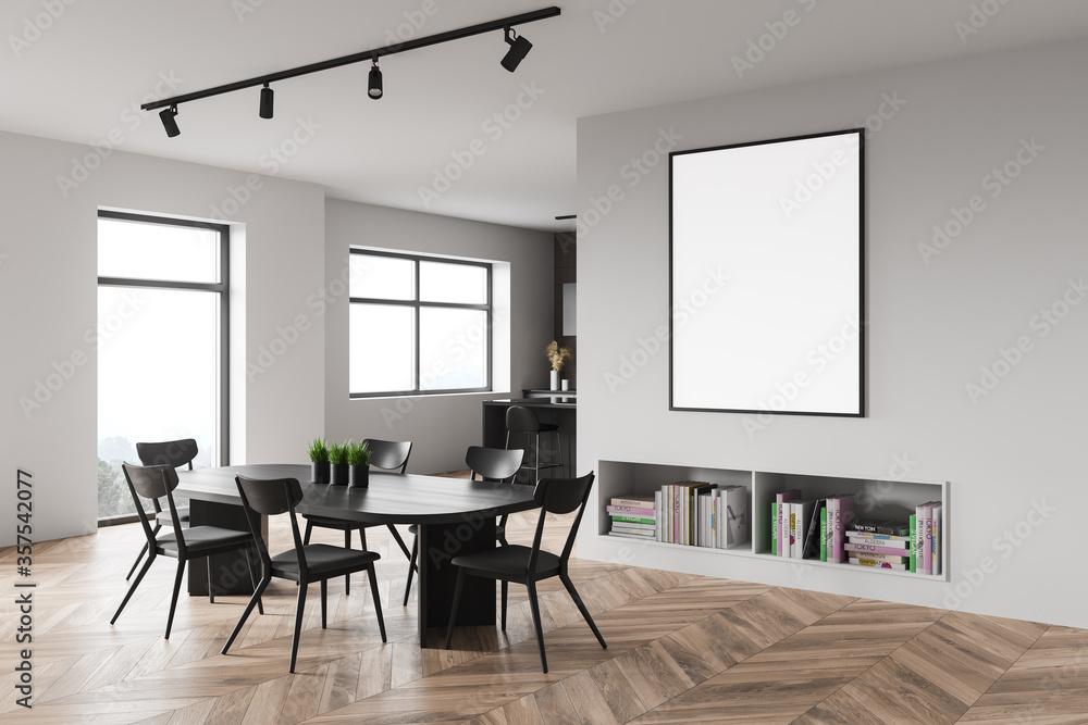 Fototapeta White dining room corner with poster