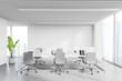 Leinwandbild Motiv Workplace in white loft office