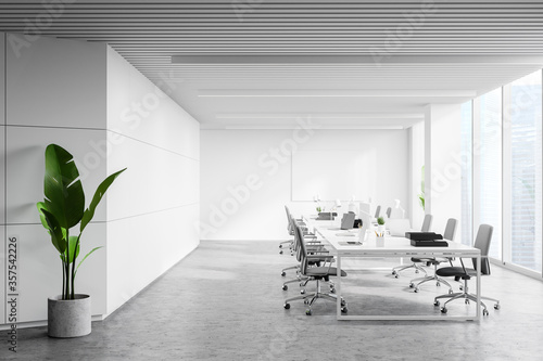 White panoramic open space office interior