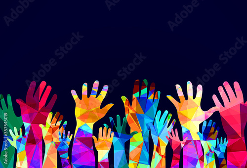 Colorful hands up - happiness or help concept Wallpaper Mural