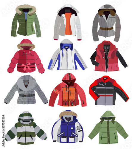 Obraz set of children's jackets isolated on white background - fototapety do salonu