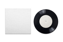 Vinyl Phonograph Record With Cardboard Cover On White Background.