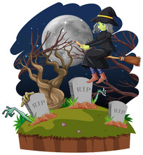 Witch Riding Broomstick On The Sky And Tomb Isolated On White Background