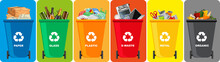 Colorful Recycle Bins With Rec...