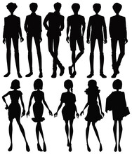 Set Of Silhouette People Chara...
