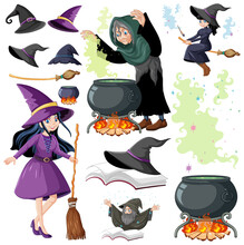 Set Of Wizard Or Witches And Magic Tools Cartoon Style Isolated On White Background
