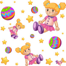 Seamless Background Design With Cute Dolls And Balls