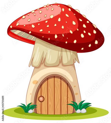 Obraz na plátne Mushroom house cartoon style on white background