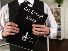 Motivation Concept About Get Enough Sleep With Sign On The Sheet.