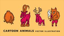 Cartoon Animal. Frog, Goat, Deer, Pig. Vector Illustration Set