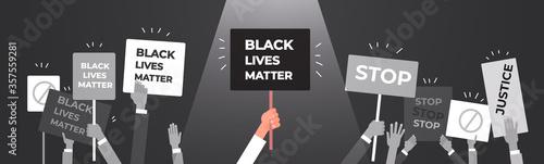 protesters hands holding black lives matter banner awareness campaign against racial discrimination of dark skin color support for equal rights of black people horizontal vector illustration Fototapeta