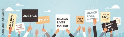 Fototapeta protesters hands holding black lives matter banner awareness campaign against racial discrimination of dark skin color support for equal rights of black people horizontal vector illustration. obraz