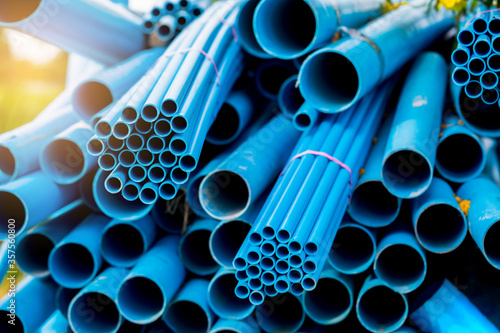 Selective to blue plastic pipe background Fototapete