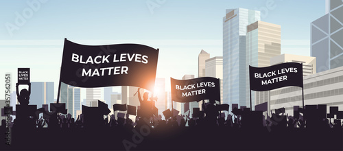 Fototapeta silhouette of protesters with black lives matter banners awareness campaign against racial discrimination of dark skin color support for equal rights of black people horizontal cityscape vector obraz