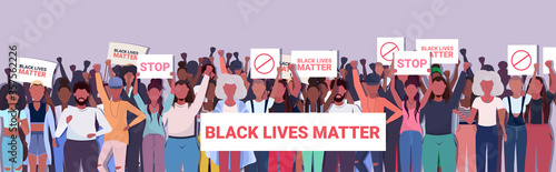 Obraz na plátne african american protesters with black lives matter banners awareness campaign a