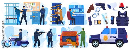 Police vector illustration set Canvas Print