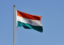 Unfurled Flag Of India In Air