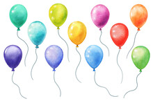 Set Of Watercolor Balloons Isolated On White. Hand Panted Separate Balloons With Bright Various Colors
