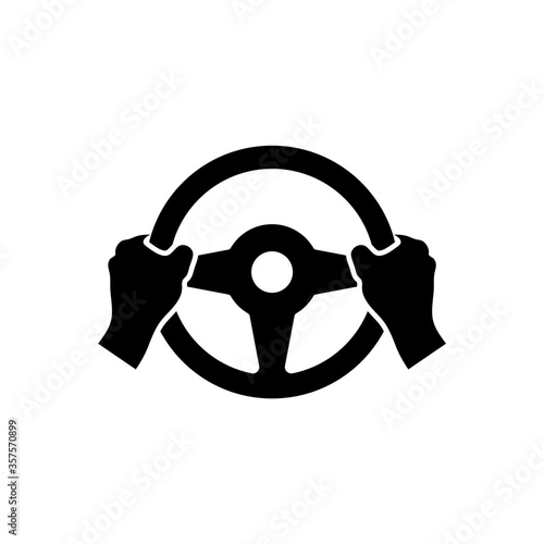 Hand holds the steering wheel of a car. Vector isolated icon. Canvas Print