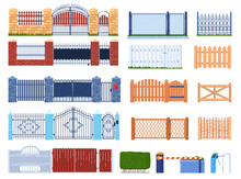 Gate And Fence Vector Illustration Set. Cartoon Flat Wooden Or Stone Brick Structures Collection For Fenced Garden Houses And Farm, Gatepost, Metal Iron Wrought Fences, Hedge Icon Isolated On White