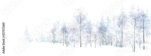 Valokuvatapetti Vector winter  snowy forest isolated. Winter landscape.