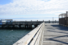 Wooden Dock With Weathered Wood Planks In Plymouth