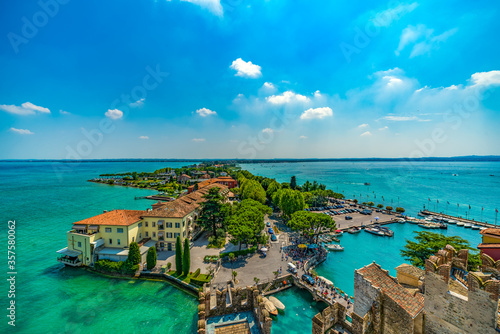 Sirmione, Italy - July 14, 2018: Scaliger Castle (13th century) in Sirmione on G Fototapete