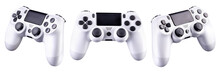 Set Of White Video Game Joysticks Gamepad Isolated On A White Background