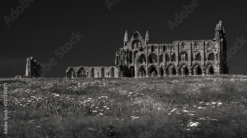 Photo Black and white photograph of Whitby Abbey in Yorkshire, UK from across the fiel