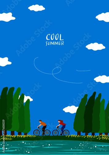 Fototapeta 자연 속에서 자전거 타고 달리는 연인, 여름휴가 obraz
