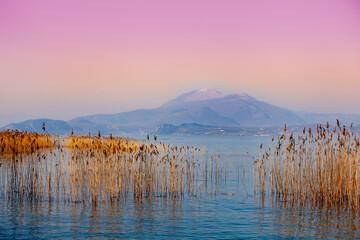 Panel Szklany Wschód / zachód słońca Early morning, sunrise over the lake. Sedge in the lake. Garda lake (Lago di Garda), Italy, Europe