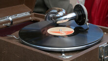 Vintage Gramophone Playing A Record