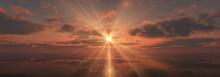 Sunset Calmly Sea Sun Ray 3d R...